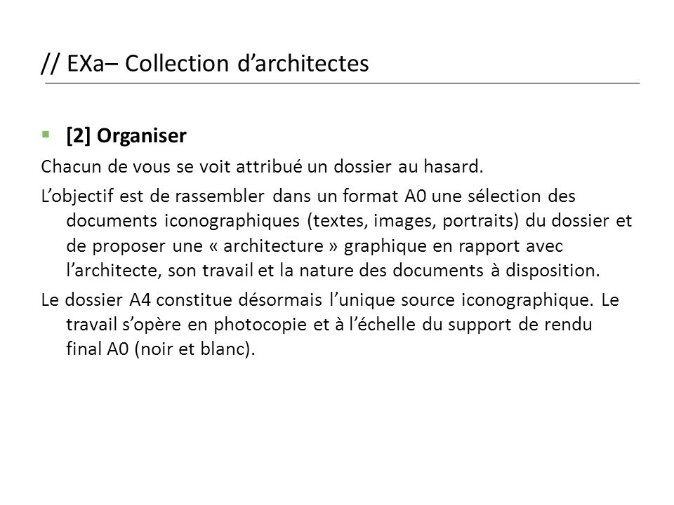 // EXa– Collection d'architectes