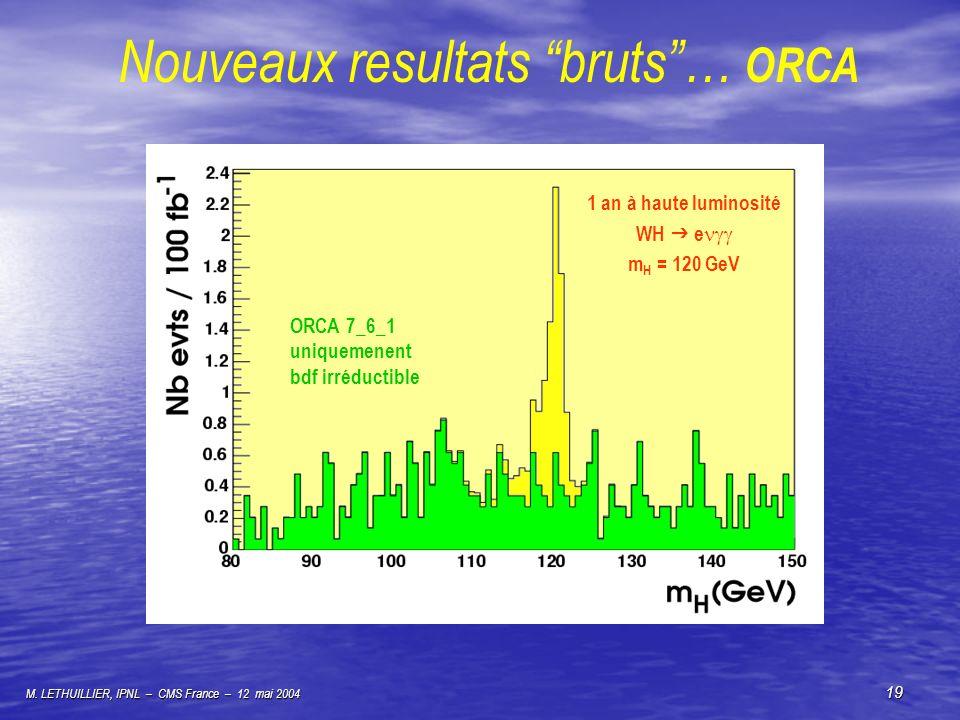 Nouveaux resultats bruts … ORCA