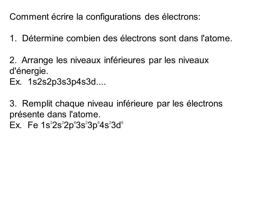 Comment écrire la configurations des électrons: