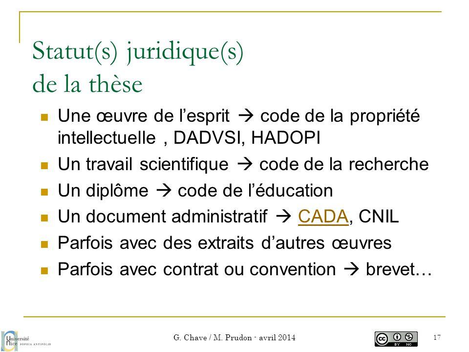 Statut(s) juridique(s) de la thèse