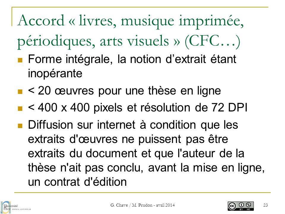 Accord « livres, musique imprimée, périodiques, arts visuels » (CFC…)