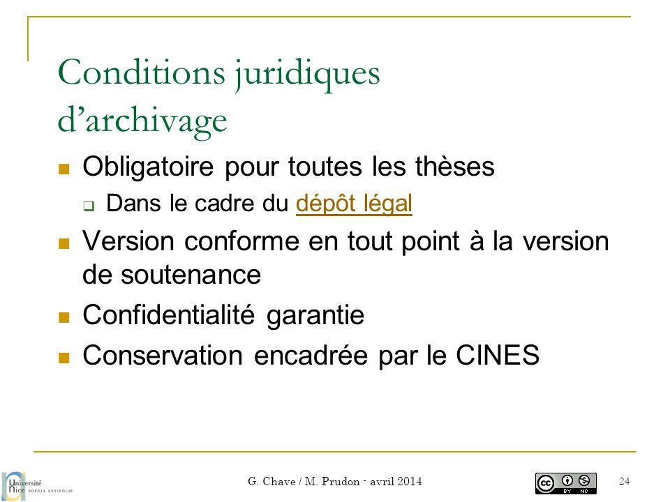 Conditions juridiques d'archivage