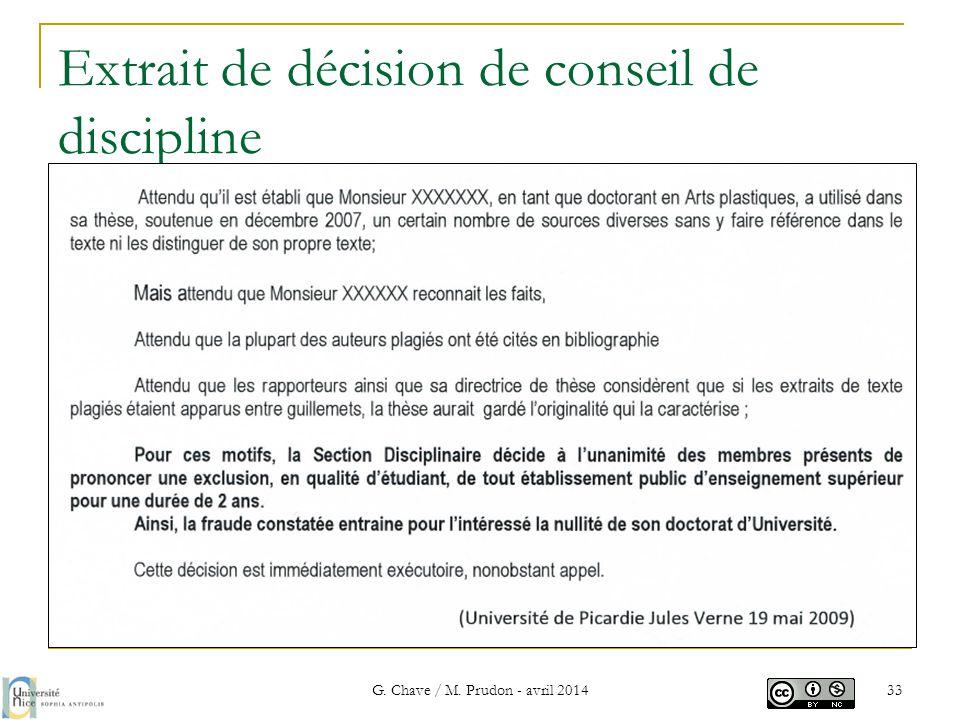 Extrait de décision de conseil de discipline