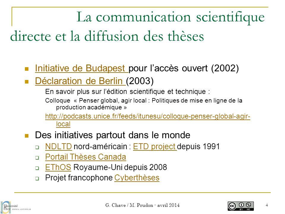 La communication scientifique directe et la diffusion des thèses