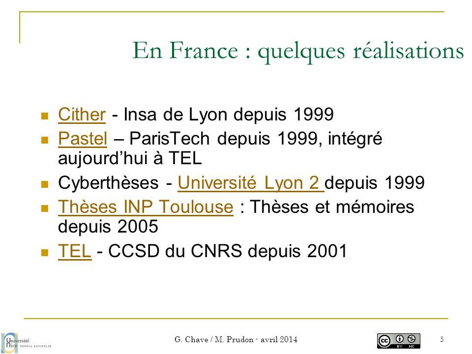 En France : quelques réalisations