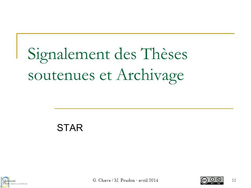 Signalement des Thèses soutenues et Archivage