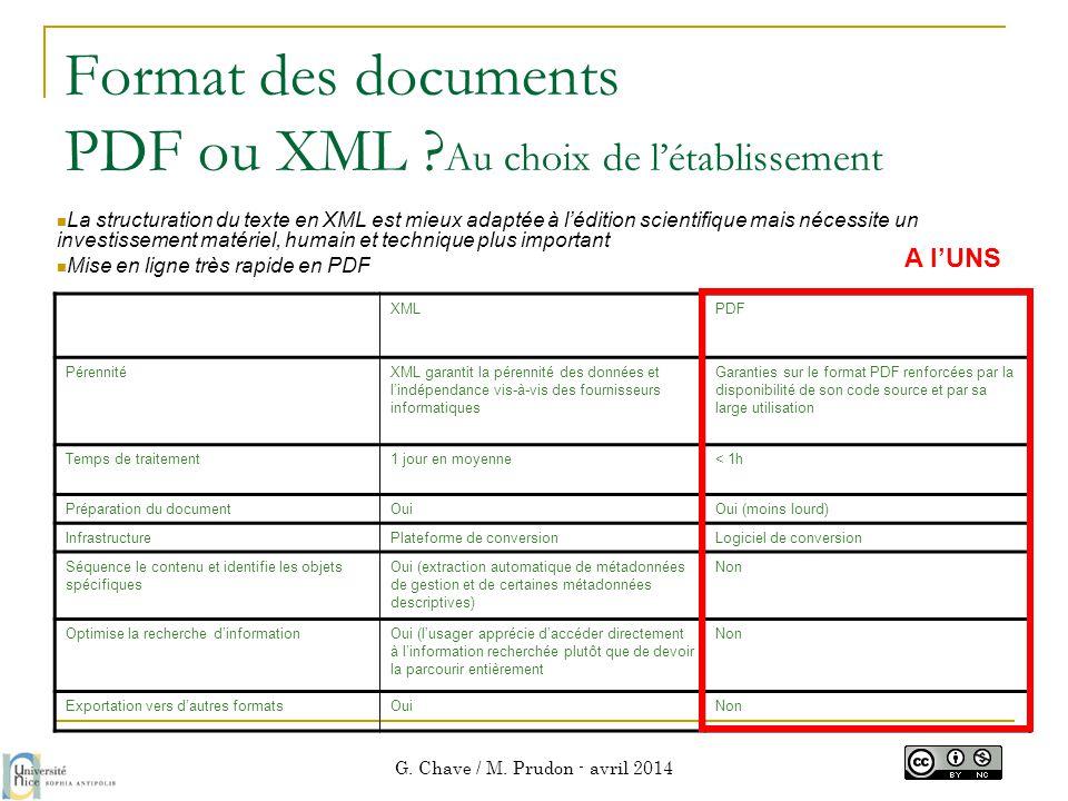 Format des documents PDF ou XML Au choix de l'établissement