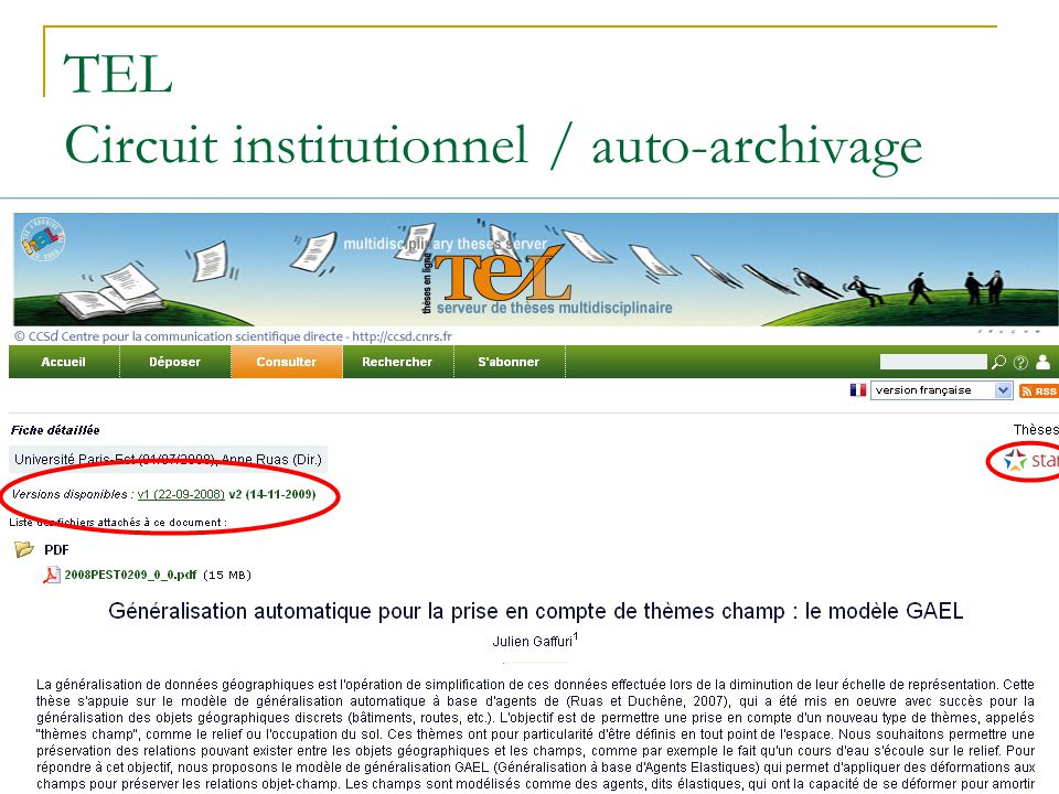 TEL Circuit institutionnel / auto-archivage