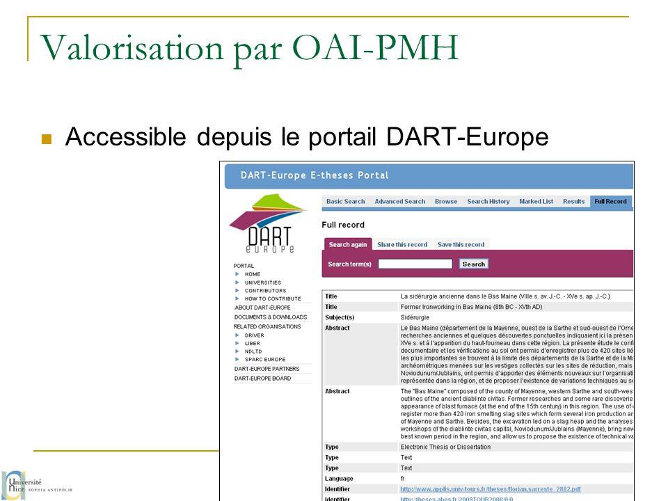 Valorisation par OAI-PMH