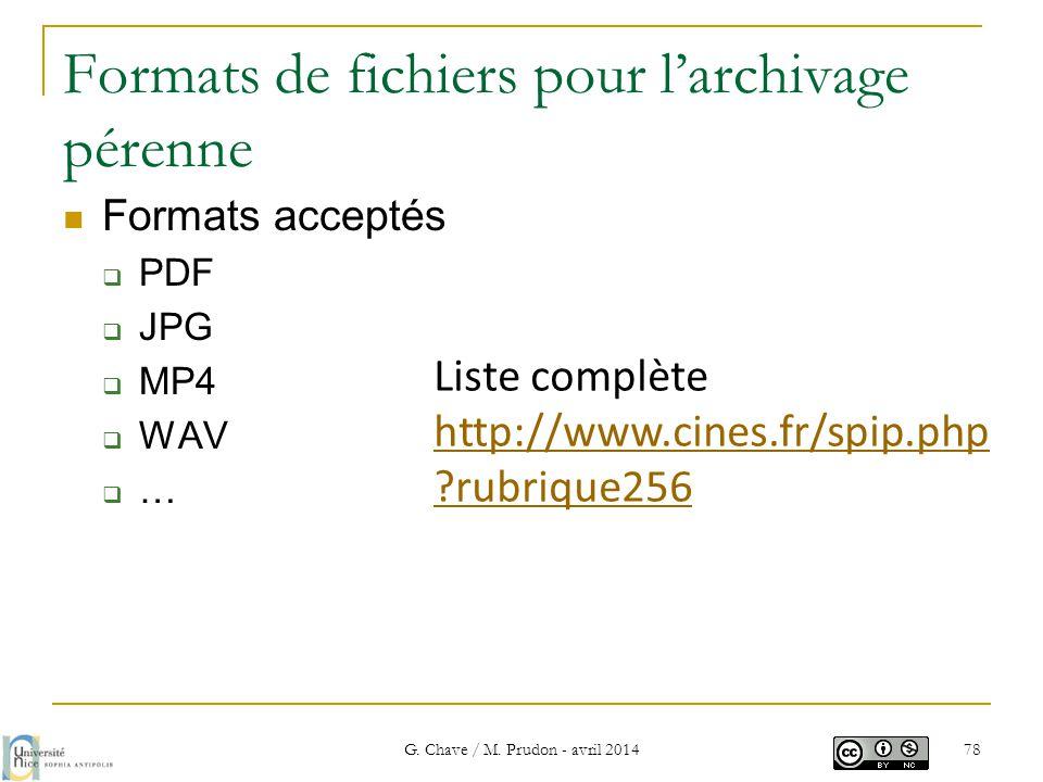Formats de fichiers pour l'archivage pérenne