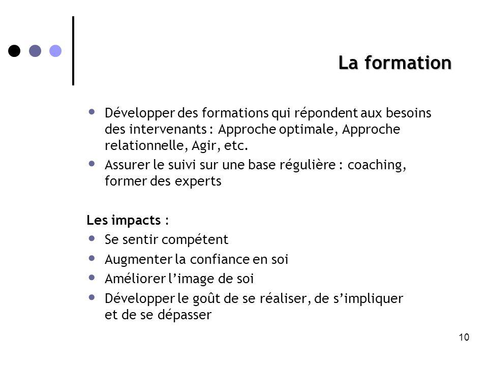 La formation Développer des formations qui répondent aux besoins des intervenants : Approche optimale, Approche relationnelle, Agir, etc.
