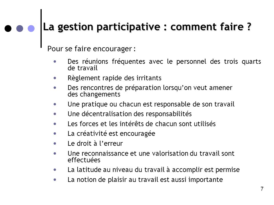 La gestion participative : comment faire