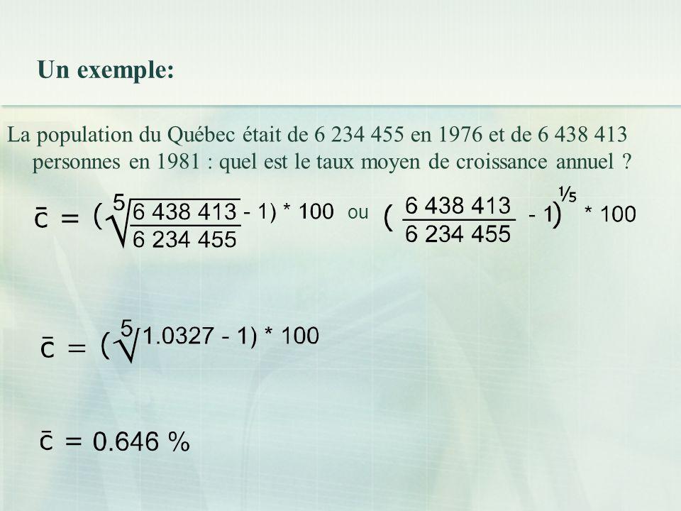 Un exemple: La population du Québec était de 6 234 455 en 1976 et de 6 438 413 personnes en 1981 : quel est le taux moyen de croissance annuel