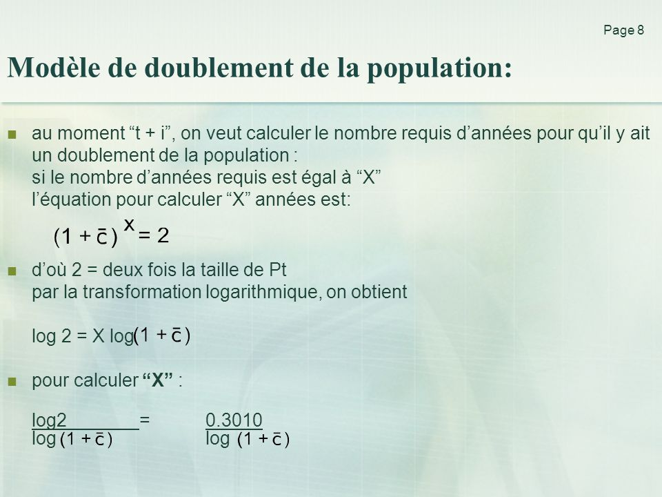 Modèle de doublement de la population: