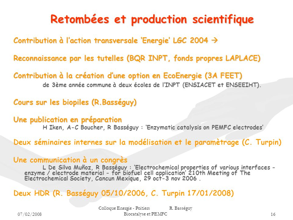 Retombées et production scientifique