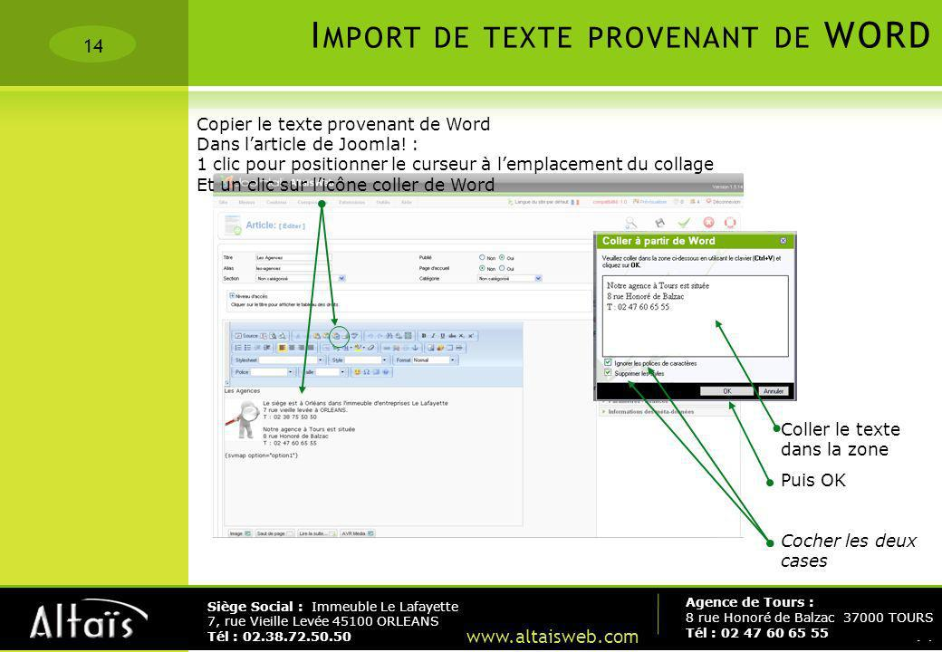 Import de texte provenant de WORD