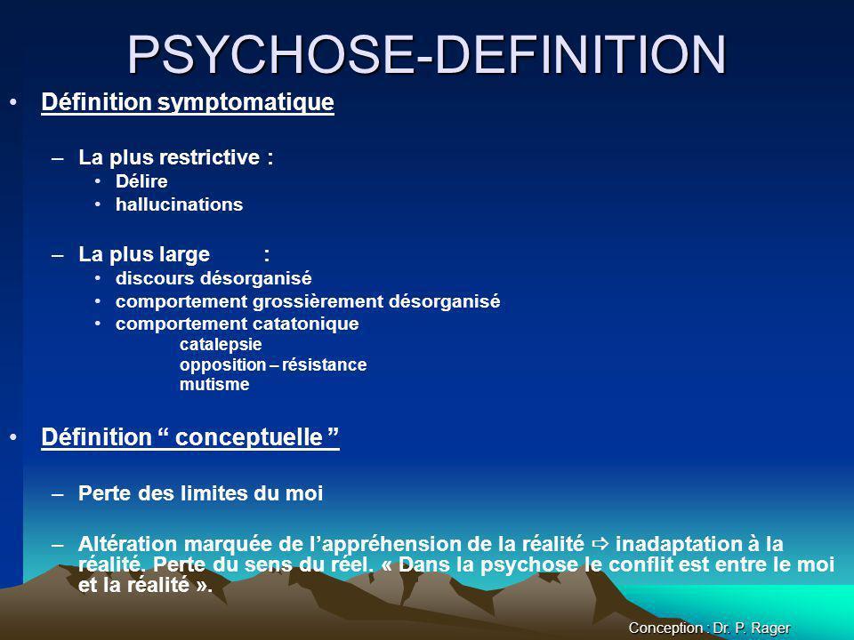 PSYCHOSE-DEFINITION Définition symptomatique