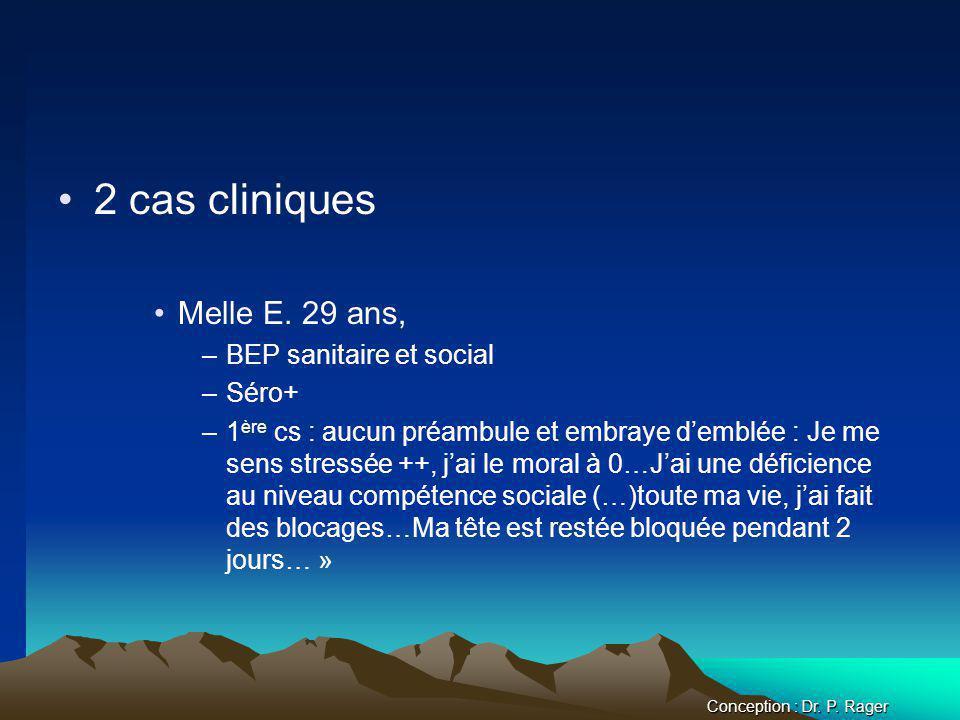 2 cas cliniques Melle E. 29 ans, BEP sanitaire et social Séro+