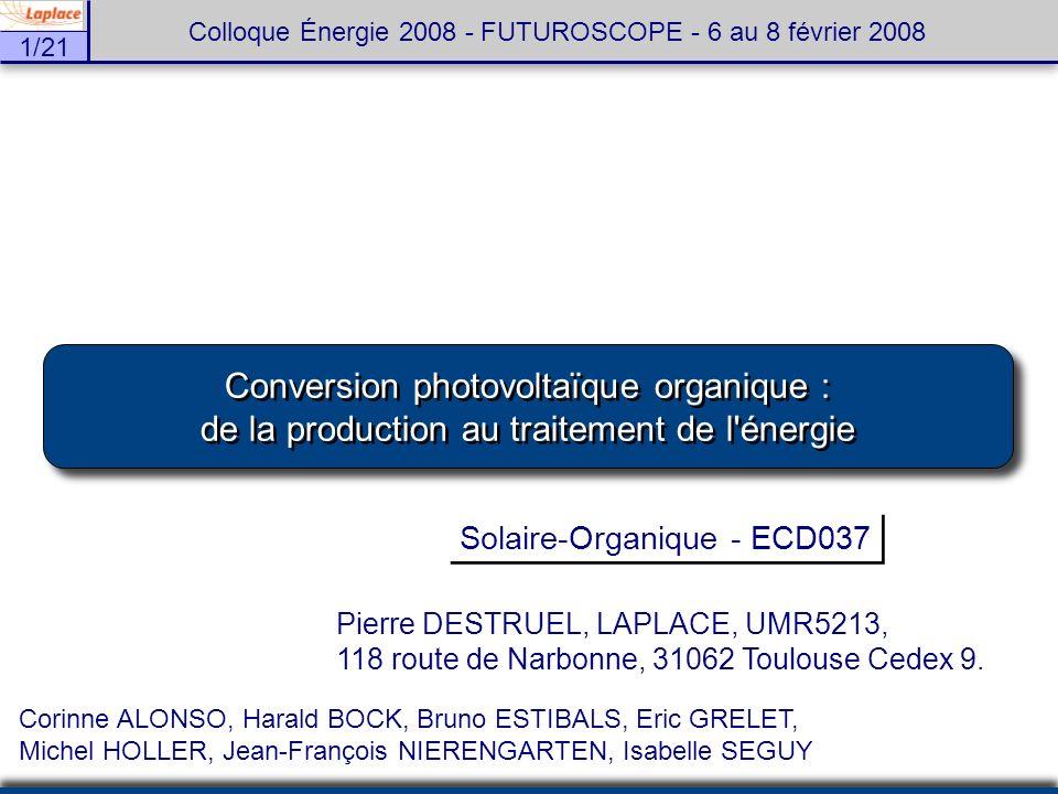 Conversion photovoltaïque organique :