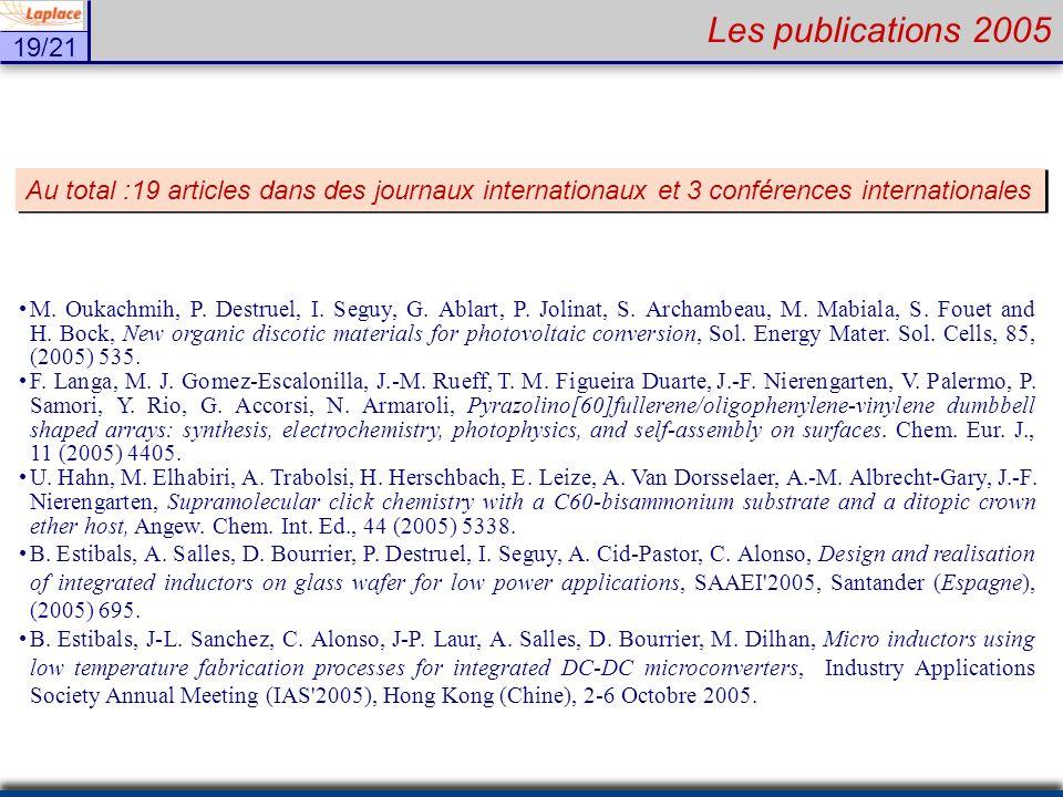 Les publications 2005 Au total :19 articles dans des journaux internationaux et 3 conférences internationales.