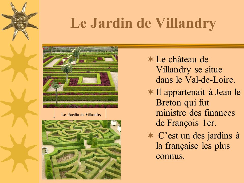 Le Jardin de Villandry Le château de Villandry se situe dans le Val-de-Loire.