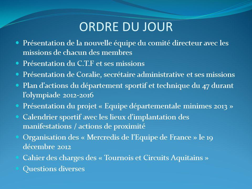 ORDRE DU JOUR Présentation de la nouvelle équipe du comité directeur avec les missions de chacun des membres.