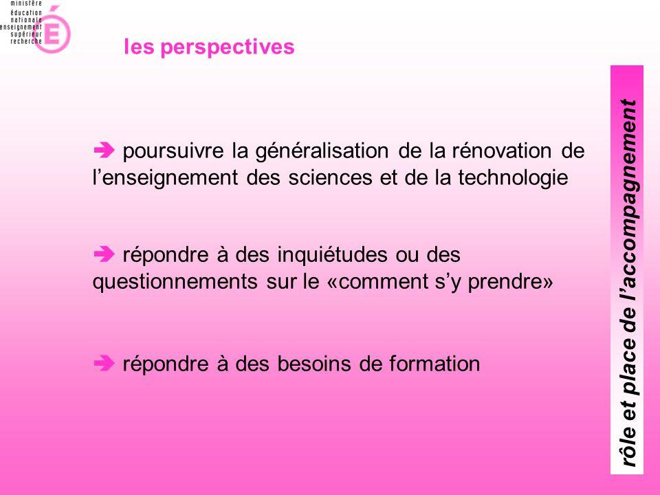 les perspectives  poursuivre la généralisation de la rénovation de l'enseignement des sciences et de la technologie.