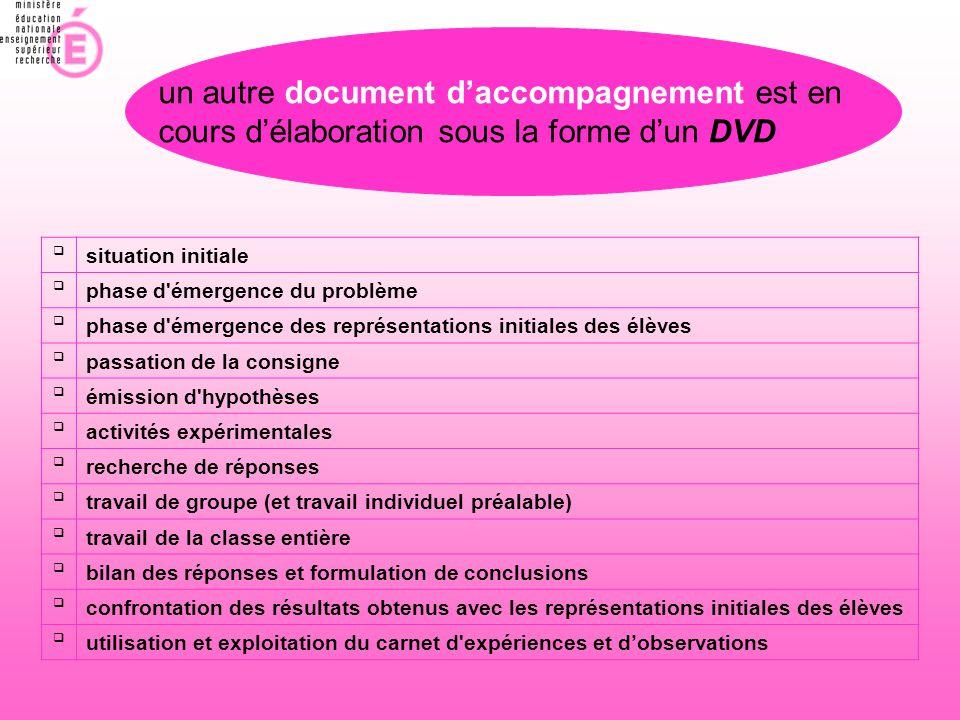 un autre document d'accompagnement est en cours d'élaboration sous la forme d'un DVD