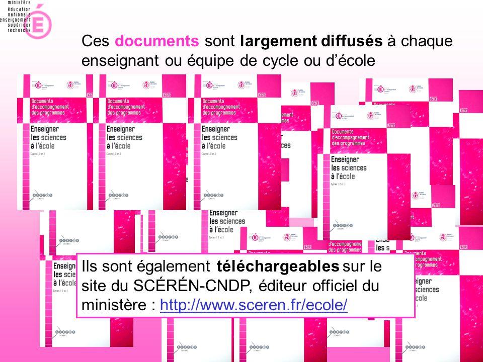 Ces documents sont largement diffusés à chaque enseignant ou équipe de cycle ou d'école