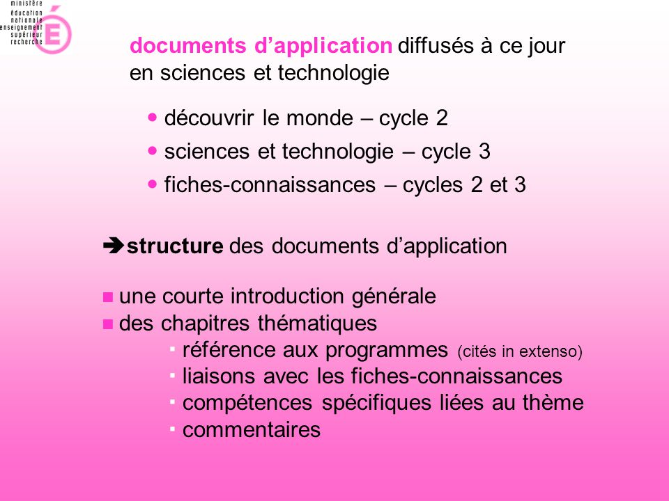 documents d'application diffusés à ce jour en sciences et technologie