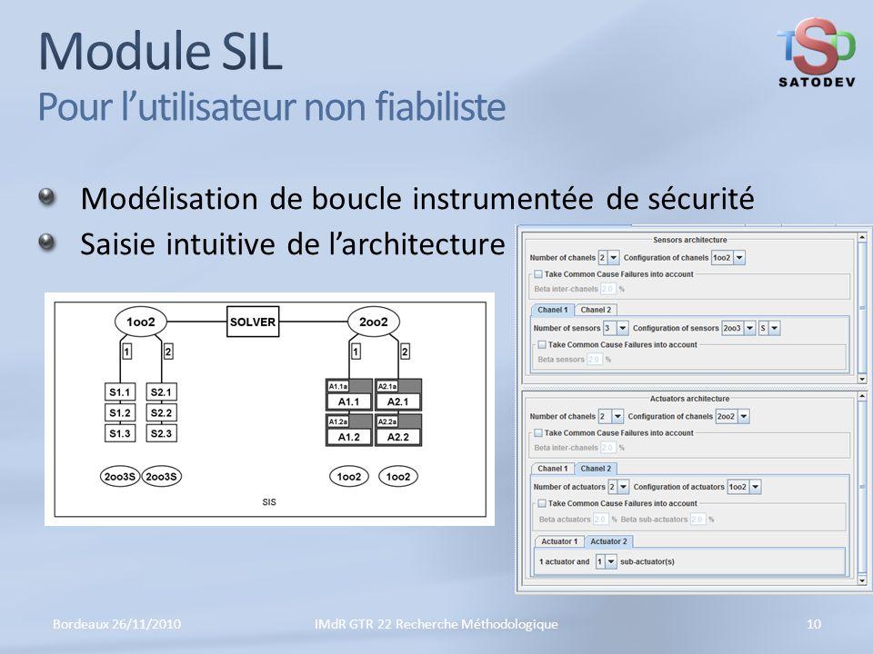 Module SIL Pour l'utilisateur non fiabiliste
