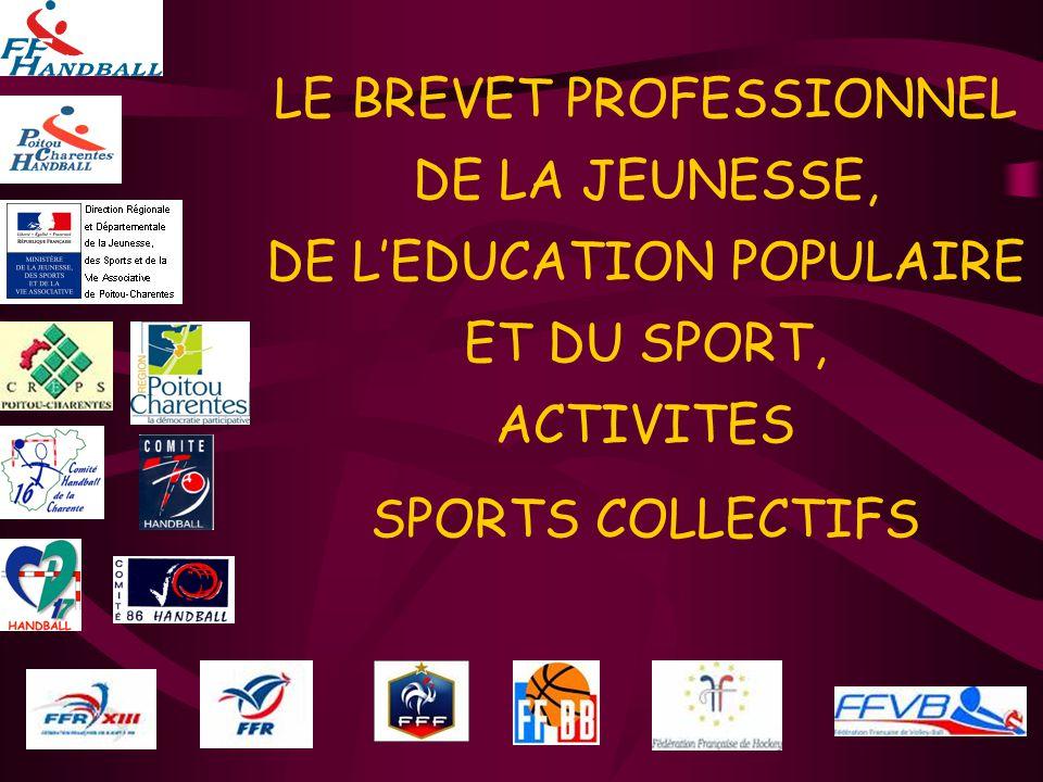 LE BREVET PROFESSIONNEL DE LA JEUNESSE, DE L'EDUCATION POPULAIRE ET DU SPORT, ACTIVITES SPORTS COLLECTIFS