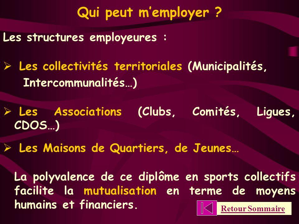 Qui peut m'employer Les structures employeures :