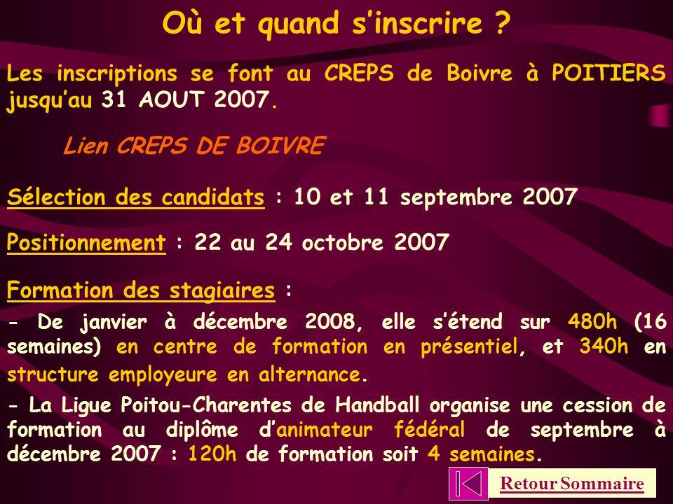 Où et quand s'inscrire Les inscriptions se font au CREPS de Boivre à POITIERS jusqu'au 31 AOUT 2007.