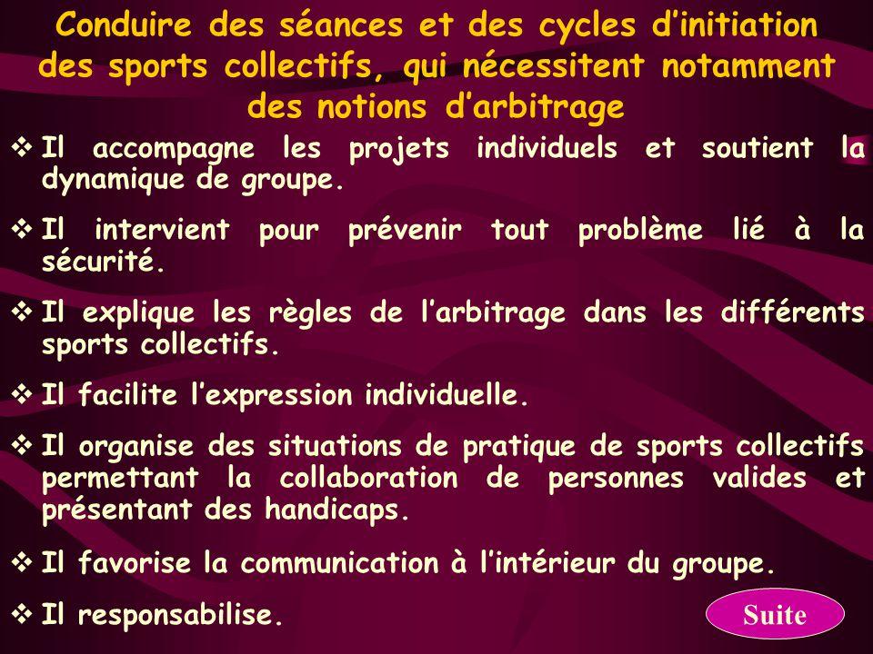 Conduire des séances et des cycles d'initiation des sports collectifs, qui nécessitent notamment des notions d'arbitrage