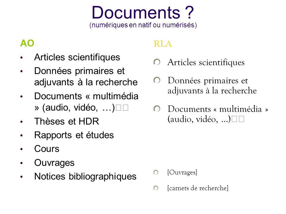 Documents (numériques en natif ou numérisés)