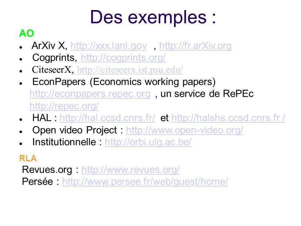Des exemples : AO ArXiv X, http://xxx.lanl.gov , http://fr.arXiv.org