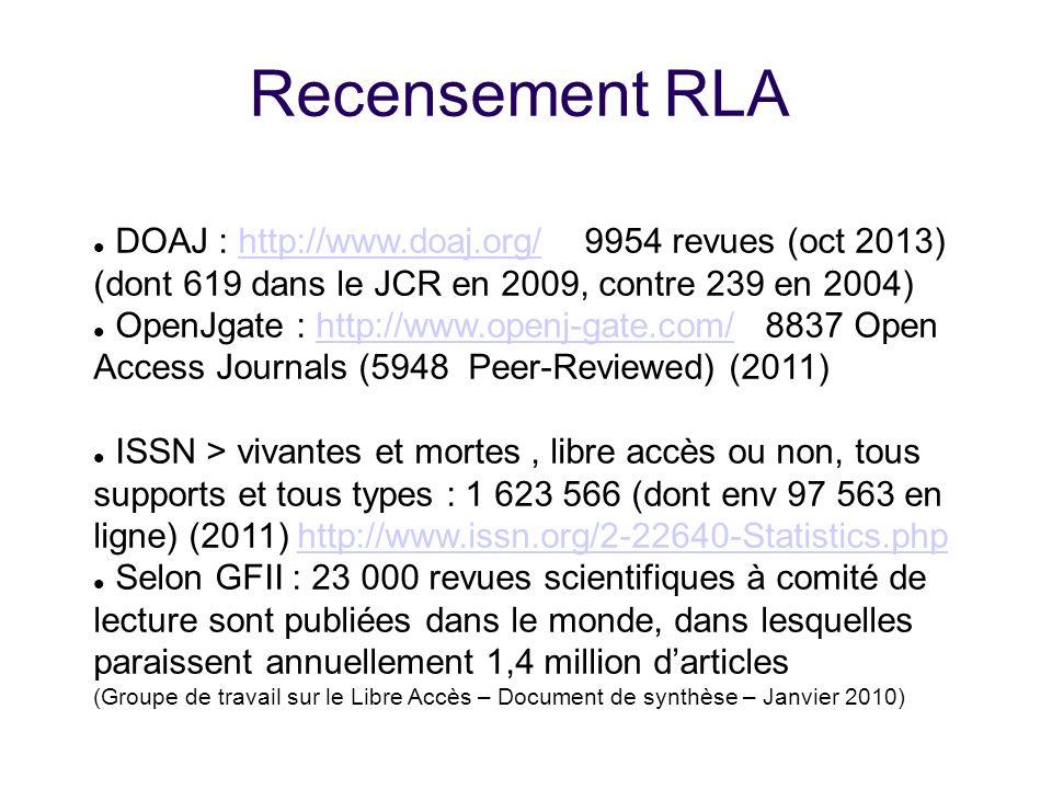 Recensement RLA DOAJ : http://www.doaj.org/ 9954 revues (oct 2013)