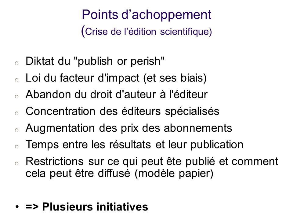 Points d'achoppement (Crise de l'édition scientifique)