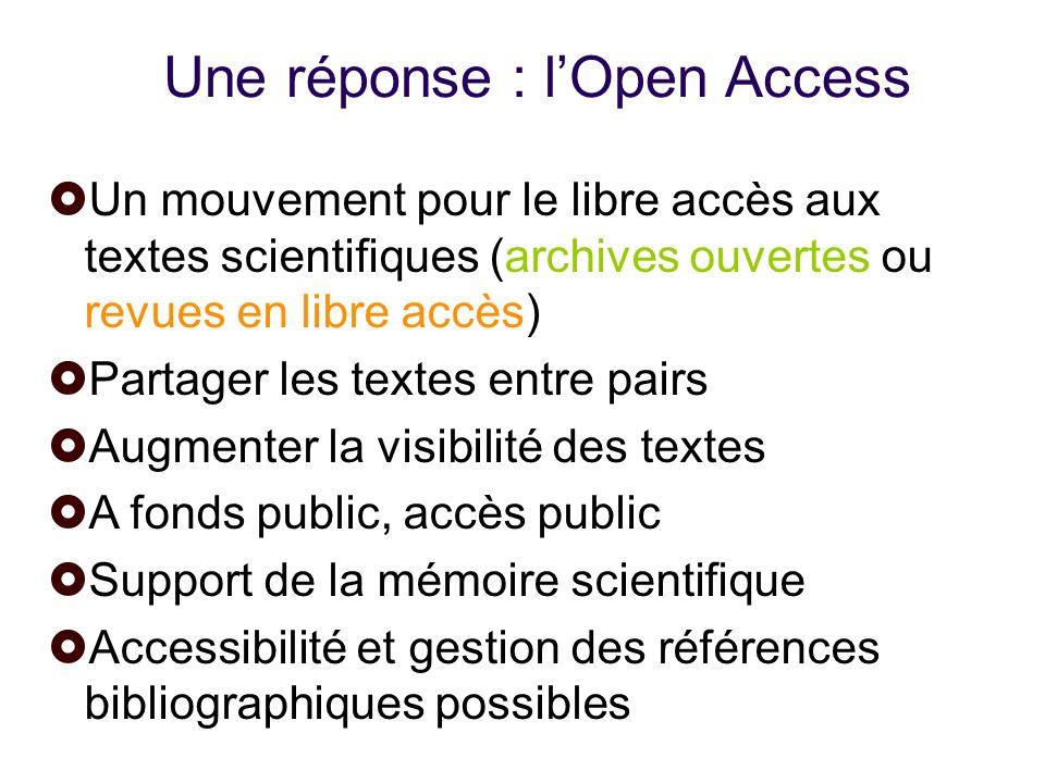 Une réponse : l'Open Access