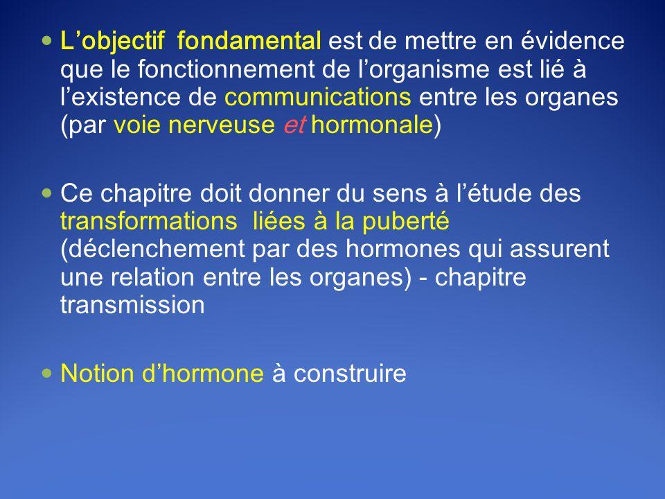 L'objectif fondamental est de mettre en évidence que le fonctionnement de l'organisme est lié à l'existence de communications entre les organes (par voie nerveuse et hormonale)