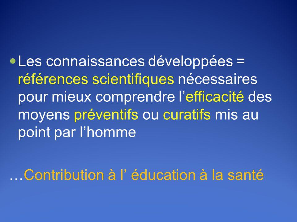 Les connaissances développées = références scientifiques nécessaires pour mieux comprendre l'efficacité des moyens préventifs ou curatifs mis au point par l'homme