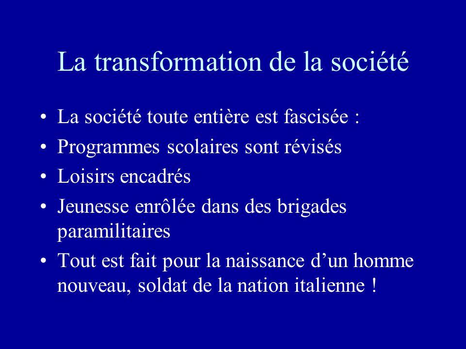 La transformation de la société