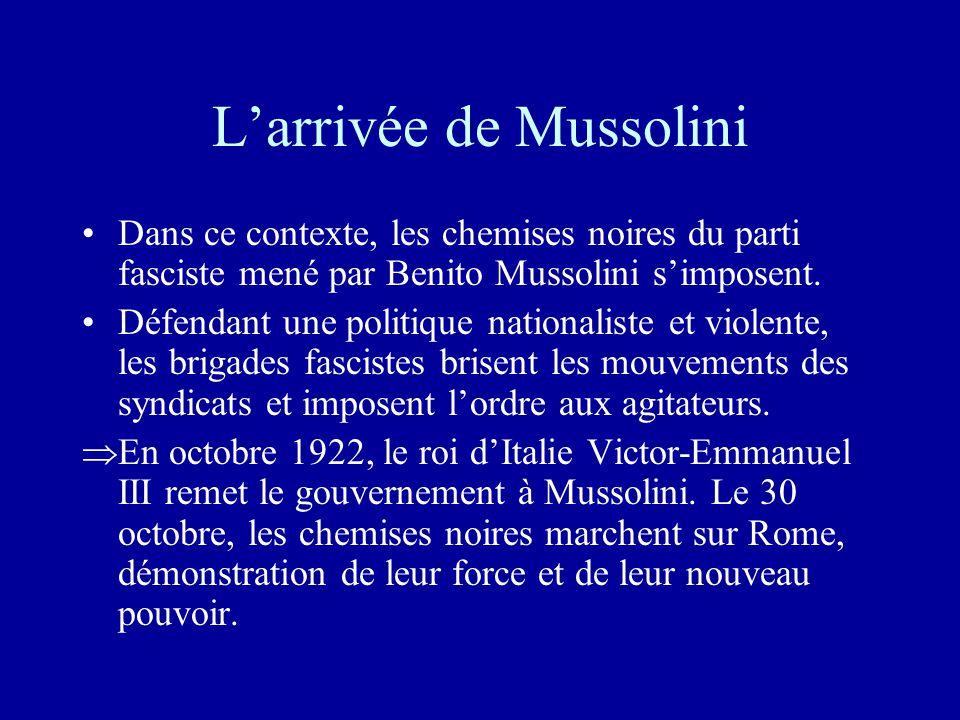 L'arrivée de Mussolini