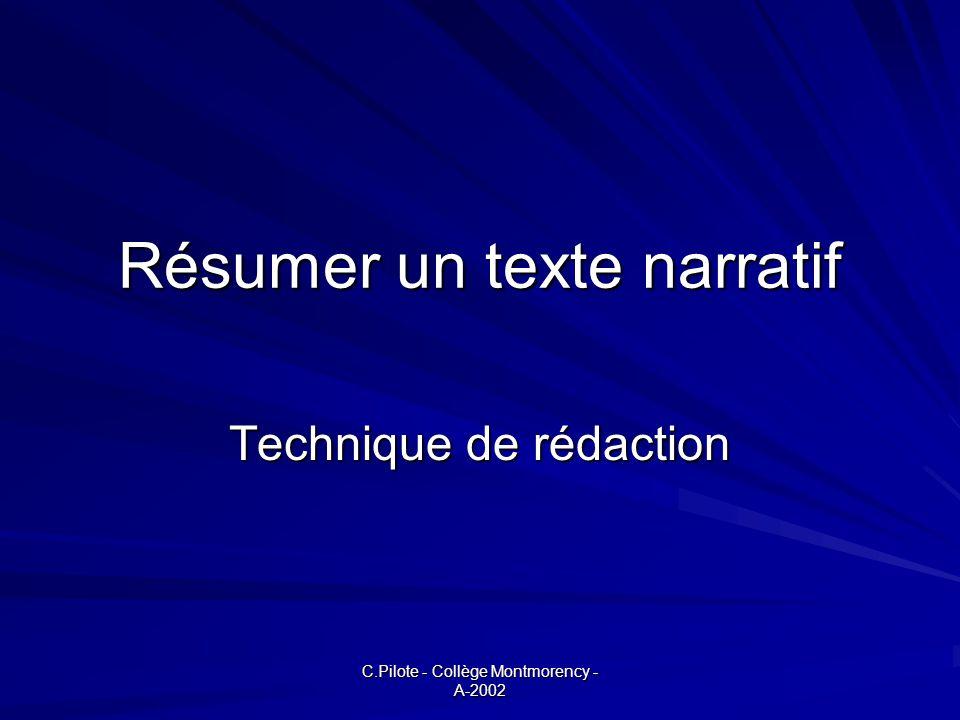 Résumer un texte narratif