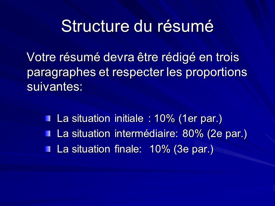 Structure du résumé Votre résumé devra être rédigé en trois paragraphes et respecter les proportions suivantes: