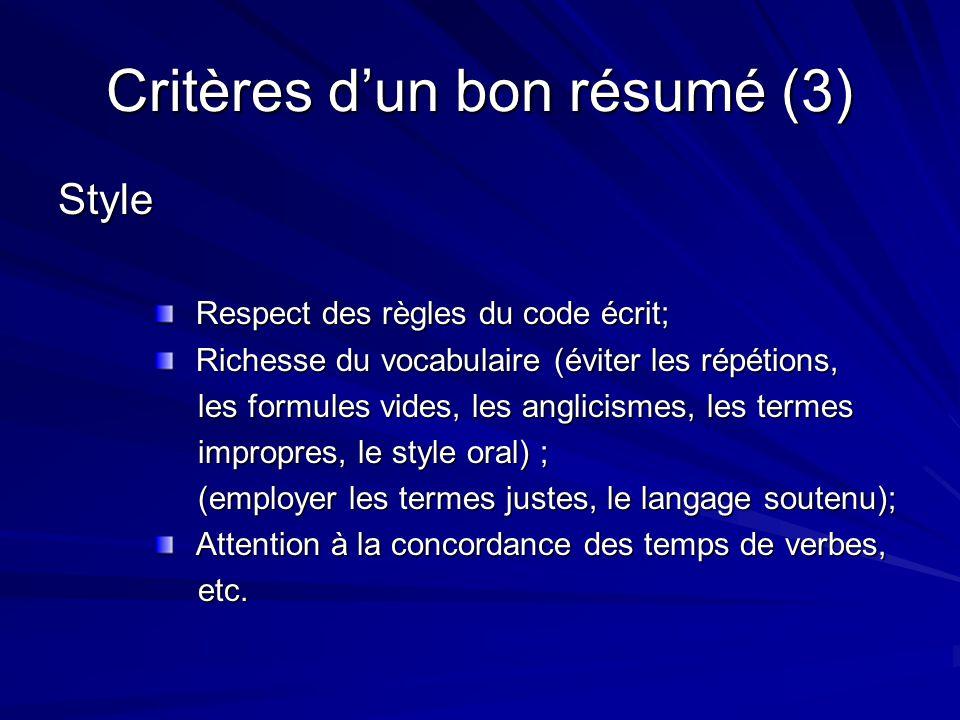 Critères d'un bon résumé (3)