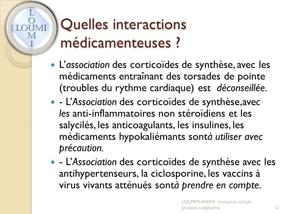 Quelles interactions médicamenteuses