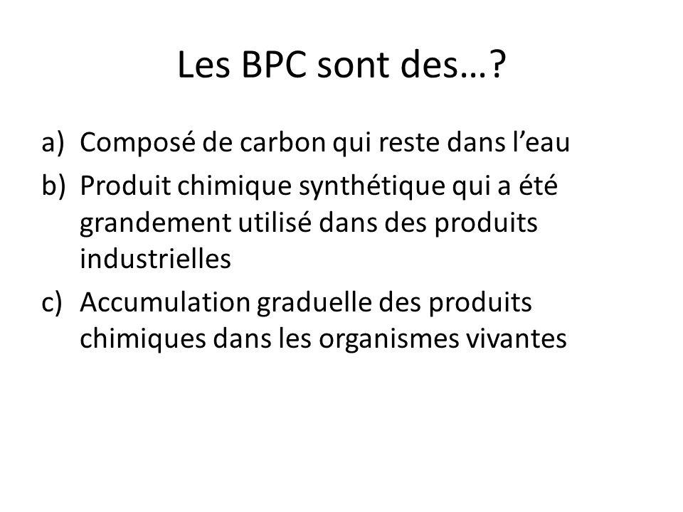 Les BPC sont des… Composé de carbon qui reste dans l'eau