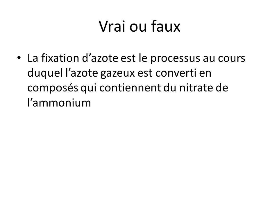 Vrai ou faux La fixation d'azote est le processus au cours duquel l'azote gazeux est converti en composés qui contiennent du nitrate de l'ammonium.
